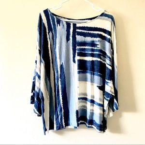 Chico's Sz 2 Blue Watercolor Striped Loose Fit Top